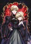 2girls armor armored_dress artoria_pendragon_(all) black_dress black_ribbon black_sleeves blonde_hair braided_bun breasts choker cleavage collarbone dress dual_persona eyebrows_visible_through_hair fate/stay_night fate_(series) faulds frilled_sleeves frills gauntlets hair_ribbon hand_on_another's_hip long_sleeves looking_at_viewer multiple_girls print_dress print_sleeves ribbon saber_alter shokill short_hair shrug_(clothing) sleeveless sleeveless_dress small_breasts standing yellow_eyes