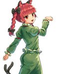 1girl :d absurdres animal_ears ass bangs black_bow blunt_bangs bow braid cat_ears cat_girl cat_tail dress extra_ears eyebrows_visible_through_hair fang green_dress hair_bow highres juliet_sleeves kaenbyou_rin long_hair long_sleeves multiple_tails nob1109 open_mouth orange_eyes paw_pose puffy_sleeves red_hair simple_background smile solo tail touhou twin_braids two_tails white_background