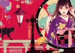 1girl asa_no_ha_(pattern) black_cat blush brown_eyes brown_hair cat comb commentary_request floral_background floral_print hand_in_hair hands_up japanese_clothes kimono lantern lipstick looking_at_viewer makeup matsuo_hiromi mirror mole mole_under_eye obi original parted_lips purple_kimono railing red_lipstick reflection sash solo standing watermark