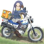 1girl adjusting_eyewear ankle_boots black-framed_eyewear black_legwear blue_hair boots brown_footwear brown_gloves commentary_request fringe_trim glasses gloves grass grey_skirt ground_vehicle hair_tie highres logo long_hair mikeran_(mikelan) miniskirt motor_vehicle motorcycle oogaki_chiaki open_mouth pantyhose partial_commentary plaid plaid_skirt pleated_skirt print_scarf red_eyes riding scarf shadow shoshinsha_mark sidelocks sitting skirt smile solo suzuki suzuki_rv125 twintails white_background yellow_scarf yurucamp
