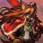 1boy ahoge animal_ears bangs blue_eyes brown_hair capelet commentary_request dakusuta dog_ears fur_trim furry gloves goggles goggles_around_neck hair_between_eyes hand_on_hip holding holding_sword holding_weapon long_hair male_focus mouth_hold red_capelet red_savarin solatorobo solo sword tail upper_body weapon
