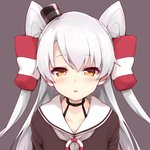 1girl amatsukaze_(kantai_collection) bangs black_choker black_headwear blush brown_background brown_shirt choker collarbone commentary_request grey_hair grey_neckwear hair_tubes hat jampen kantai_collection lifebuoy long_hair looking_at_viewer mini_hat neckerchief orange_eyes parted_bangs parted_lips sailor_collar shirt simple_background solo two_side_up upper_body windsock