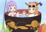 4girls >_< ahoge alternate_costume antidote arms_up ball bangs beachball blunt_bangs blurry blush bow bowl commentary_request depth_of_field eyewear_on_head flower grass hair_bow hair_flower hair_ornament horn_ribbon horns ibuki_suika in_bowl in_container jitome long_hair looking_at_another minigirl multiple_girls needle o3o open_mouth orange_hair partially_submerged purple_hair ribbon shirt short_hair sitting spitting sukuna_shinmyoumaru sunglasses swimsuit t-shirt tears touhou water |_|
