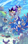 3boys :o :t algae barnacle black_hair blonde_hair blurry bubble chain clam clenched_teeth coral coral_reef depth_of_field diving_mask diving_mask_on_eyes dual_persona fish flippers from_below goggles hand_on_another's_shoulder holding jellyfish jewelry kaiba_seto kamishiro_ryouga kushabiria male_focus male_swimwear manjoume_jun millennium_puzzle multicolored_hair multiple_boys mutou_yuugi necklace nervous no_nipples ocean octopus purple_eyes purple_hair riding rock sand sea_urchin seaweed shark shirtless short_hair smile spiked_hair starfish sweat swim_trunks swimming swimwear teeth two-tone_hair underwater water yami_yuugi yuu-gi-ou yuu-gi-ou_duel_monsters yuu-gi-ou_gx yuu-gi-ou_zexal yuuki_juudai