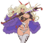 1girl blonde_hair breasts cape cowboy_shot crossed_legs dark_skin highres itou_ittousai_(sengoku_bushouki_muramasa) katana large_breasts long_hair navel oda_non purple_eyes sengoku_bushouki_muramasa sheath simple_background sketch solo sword thigh_gap thighhighs unsheathing weapon white_background