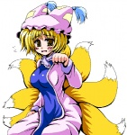 1girl bangs blonde_hair blush breasts cleavage d: dress fox_tail hat hips impossible_clothes impossible_dress large_breasts looking_at_viewer multiple_tails nagana_sayui oekaki open_mouth paw_pose seiza simple_background sitting solo tabard tail touhou white_background white_dress yakumo_ran yellow_eyes