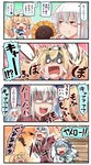 3girls 4koma :d aqua_neckwear aqua_skirt blonde_hair blue_hair blue_sailor_collar blue_shirt breast_pocket brown_gloves comic commentary crying dixie_cup_hat double_bun facial_scar fang flower flying_sweatdrops gambier_bay_(kantai_collection) gangut_(kantai_collection) gloves hair_between_eyes hair_ornament hairclip hat highres holding ido_(teketeke) kantai_collection long_hair military_hat multicolored multicolored_clothes multicolored_gloves multiple_girls neckerchief no_hat no_headwear o_o open_mouth orange_eyes pleated_skirt pocket red_shirt remodel_(kantai_collection) revision sailor_collar samuel_b._roberts_(kantai_collection) scar school_uniform seed serafuku shaded_face shirt short_sleeves skirt smile speech_bubble sunflower sunflower_seed tackle tackled thought_bubble translated v-shaped_eyebrows white_hair white_hat