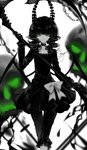 1girl :q artist_name bangs black_dress black_gloves black_hair black_rock_shooter bow chain chinese_commentary choker collarbone commentary_request dead_master demon_wings dress eyelashes feet_out_of_frame gloves green_eyes hand_up highres holding holding_scythe holding_weapon horns limited_palette long_hair long_sleeves looking_at_viewer pants scythe sheya short_dress signature simple_background skull smile solo spot_color standing tongue tongue_out wavy_hair weapon white_background wings
