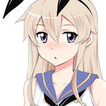 1girl animal_ears blonde_hair blush bunny_ears collarbone commentary_request fake_animal_ears grey_eyes hair_between_eyes hair_ornament hairband highres inoue_kousei kantai_collection long_hair looking_at_viewer nose_blush open_mouth sailor_collar shadow shimakaze_(kantai_collection) shirt sidelocks sleeveless sleeveless_shirt solo tearing_up upper_body white_background