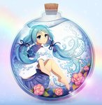 1girl barefoot blue_eyes blue_hair bottle bottle_miku floating flower from_side full_body hair_ribbon hatsune_miku in_container knees_up leg_hug liquid_hair long_hair longestdistance looking_at_viewer peony_(flower) plantar_flexion ribbon sailor_collar solo submerged twintails very_long_hair vocaloid