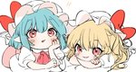 !! 2girls ascot bad_id bad_twitter_id bangs blonde_hair blue_hair blush bow chin_rest crossed_arms dress eyebrows_visible_through_hair fang flandre_scarlet gotoh510 hair_between_eyes hand_up hat hat_bow long_hair looking_at_viewer mob_cap multiple_girls nail_polish one_side_up open_mouth pointy_ears red_bow red_eyes red_nails red_neckwear remilia_scarlet short_hair siblings simple_background sisters sketch smile touhou white_background white_dress white_hat