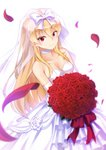 1girl absurdres arifureta_shokugyou_de_sekai_saikyou bangs bare_shoulders blonde_hair bouquet bow bridal_veil choker collarbone commentary_request dress eyebrows_visible_through_hair flower hakuya_kung highres holding holding_bouquet huge_filesize layered_dress long_hair petals red_eyes red_flower red_rose revision rose rose_petals simple_background solo strapless strapless_dress veil very_long_hair wedding_dress white_background white_bow white_choker white_dress yue_(arifureta)