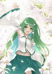 1girl :d arm_up armpits commentary detached_sleeves eyebrows_visible_through_hair flan_(seeyouflan) flower frog_hair_ornament green_eyes green_hair green_skirt hair_ornament hair_tubes highres kochiya_sanae long_hair looking_at_viewer midriff_peek navel open_mouth petals shirt skirt smile snake_hair_ornament solo touhou very_long_hair waving white_shirt wide_sleeves wing_collar