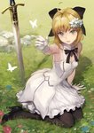 1girl ahoge arm_support artoria_pendragon_(all) bangs bare_shoulders black_footwear black_legwear black_ribbon blonde_hair bow breasts bug butterfly caliburn cleavage day detached_collar dress fate/unlimited_codes fate_(series) flower full_body gloves grass green_eyes hair_flower hair_ornament hair_ribbon high_heels highres insect kouzuki_kei lily_(flower) long_hair looking_at_viewer open_mouth outdoors outstretched_arm pantyhose ponytail ribbon round_teeth saber_lily shoes signature sitting small_breasts smile solo sword teeth tsurime weapon white_dress white_gloves yokozuwari
