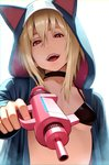 1girl :d animal_hood black_bra black_choker blonde_hair bra breasts choker cosplay doraemon doraemon_(character) doraemon_(character)_(cosplay) energy_gun eyebrows_visible_through_hair fangs finger_on_trigger go_robots hair_between_eyes head_tilt highres holding holding_sword holding_weapon hood hood_up hoodie long_sleeves looking_at_viewer open_clothes open_hoodie open_mouth pointing pointing_at_viewer red_eyes short_hair simple_background small_breasts smile solo sword underwear upper_body weapon white_background