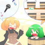 2girls blonde_hair bucket chibi dress green_eyes green_hair hair_bobbles hair_ornament hiyori_(higanahannnti) in_bucket in_container kisume kurodani_yamame microphone multiple_girls musical_note open_mouth pointing ponytail short_hair smile touhou twintails