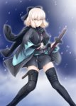 1girl blonde_hair diesel-turbo fate_(series) japanese_clothes kimono long_hair looking_at_viewer sakura_saber scarf short_hair short_kimono sword thighhighs weapon yellow_eyes