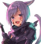 1girl :d animal_ears bangs black_scarf blood blood_on_face cat_ears cat_girl cat_tail commentary_request eyebrows_visible_through_hair final_fantasy final_fantasy_xiv gloves holding holding_weapon looking_at_viewer lowres midorikawa_you miqo'te ninja open_mouth puffy_short_sleeves puffy_sleeves purple_gloves purple_hair red_eyes scarf short_hair short_sleeves sidelocks simple_background smile solo tail tail_raised upper_body weapon white_background