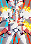 absurdres crossed_arms darling_in_the_franxx glowing gunbuster_pose highres light_particles looking_at_viewer mecha no_humans potechi_(german_potato) serious solo sparkle standing strelizia