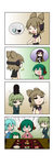 /\/\/\ 4koma 5girls :d ^_^ absurdres animal_ears black_dress blue_hair bowl chibi chopsticks closed_eyes comic dress drooling earmuffs flying_sweatdrops food gradient gradient_background gradient_hair green_dress green_hair hair_bobbles hair_ornament highres hijiri_byakuren kasodani_kyouko kisume layered_dress multicolored_hair multiple_girls o_o open_mouth pointy_hair purple_hair rakugaki-biyori rice_bowl shirt silent_comic sleeveless sleeveless_shirt smile soga_no_tojiko speech_bubble spoken_food spoken_object spoken_person tatara_kogasa touhou toyosatomimi_no_miko tray twintails white_dress