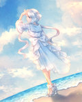 1girl beach blue_sky bow cloud day dewgong dress dutch_angle facing_away full_body hairband high_heels highres horn jewelry looking_to_the_side moe_(hamhamham) necklace outdoors personification pokemon sky solo standing twintails white_bow white_dress
