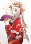1girl blonde_hair blue_eyes cherry_blossoms fan fate/grand_order fate_(series) floral_print folding_fan furisode highres holding holding_fan japanese_clothes kimono long_hair looking_at_viewer marie_antoinette_(fate/grand_order) no-kan obi obijime print_kimono red_kimono sash simple_background smile solo very_long_hair wide_sleeves