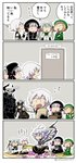 2boys 4koma 5girls :d ? ahoge armor asaya_minoru bag basket bell beret black_bow black_dress black_footwear black_gloves black_hat black_legwear black_pants black_shirt boots bow braid brown_gloves brown_hair capelet comic cup door dress eating elbow_gloves fate/apocrypha fate/extra fate/grand_order fate/stay_night fate_(series) fingerless_gloves flower food fur-trimmed_capelet fur_trim gameplay_mechanics gloves glowing glowing_eyes green_bow green_hat green_jacket green_ribbon hair_bow hat hat_bow headpiece holding holding_bag holding_basket holding_food holding_saucer holding_staff horns jack_the_ripper_(fate/apocrypha) jacket jeanne_d'arc_(fate)_(all) jeanne_d'arc_alter_santa_lily king_hassan_(fate/grand_order) long_hair long_sleeves low_twintails merlin_(fate/stay_night) multiple_boys multiple_girls nursery_rhyme_(fate/extra) onigiri open_mouth pants paper_bag paul_bunyan_(fate/grand_order) picnic pink_flower pointing pointing_at_self puffy_short_sleeves puffy_sleeves ribbon saucer semiramis_(fate) shirt short_sleeves silver_hair sitting skull sleeveless sleeveless_shirt smile spikes staff striped striped_bow striped_ribbon teacup teapot thigh_boots thighhighs translation_request twin_braids twintails twitter_username very_long_hair wariza white_capelet white_dress white_hair