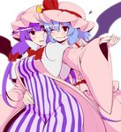 2girls bat_wings blue_hair blush bow commentary_request eichi_yuu fang hair_between_eyes hair_bow hand_on_another's_stomach hat heart holding_hands long_hair mob_cap multiple_girls one_eye_closed patchouli_knowledge purple_eyes purple_hair red_bow red_eyes remilia_scarlet short_hair smile striped touhou wide_sleeves wings yuri