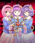 3girls :3 black_hairband blue_shirt blush commentary_request cowboy_shot frilled_sleeves frills hairband hand_up heart highres holding_hands itatatata komeiji_satori long_sleeves looking_at_viewer multiple_girls multiple_persona pink_eyes pink_hair pink_skirt purple_eyes purple_hair purple_skirt red_background shirt short_hair skirt smile smug stained_glass touhou wide_sleeves