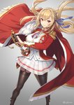 1girl azur_lane blonde_hair cloak commentary_request cuboon drawing_sword epaulettes fur_trim garter_straps hair_ribbon holding holding_sheath holding_sword holding_weapon king_george_v_(azur_lane) medal military military_uniform red_eyes ribbon saber_(weapon) see-through_silhouette sheath skirt smile solo standing sword thighhighs twitter_username uniform weapon