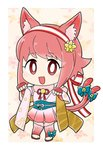 1girl :3 animal_ears artist_name bell blue_bow bow cat_ears cat_tail fake_animal_ears fake_tail fingerless_gloves fire_emblem fire_emblem_heroes fire_emblem_if flyer_27 gloves hairband halloween_costume highres japanese_clothes open_mouth pink_hair red_eyes sakura_(fire_emblem_if) short_hair solo tail