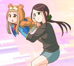 2girls :/ :o abekawa abstract_background aiming animal_hood arms_at_sides bangs black_hair black_shirt blunt_bangs blush brown_eyes carrying commentary_request dot_nose green_eyes hair_ornament hair_scrunchie hood hood_up ichihara_nina idolmaster idolmaster_cinderella_girls light_brown_hair long_sleeves low_ponytail lying miniskirt multiple_girls neckerchief on_stomach one_knee pants pants_under_skirt pantyhose pink_background pleated_skirt ponytail scrunchie shirt short_eyebrows sidelocks skirt sleeves_past_elbows striped striped_neckwear t-shirt unconventional_gun vest yamato_aki