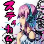 1girl bad_id bad_pixiv_id cable closed_eyes collarbone hand_on_own_chest headphones izumi_sai original purple_hair short_hair solo stickam