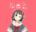 ;) amami_haruka bangs blunt_bangs blush bow bowtie brown_hair cake candle closed_mouth eyebrows_visible_through_hair food grey_shirt hair_bow head_tilt highres idolmaster idolmaster_(classic) junsuina_fujunbutsu looking_at_viewer one_eye_closed outline party_popper pink_background pink_bow red_bow red_neckwear sailor_collar school_uniform serafuku shirt short_hair simple_background smile tareme upper_body white_outline white_sailor_collar