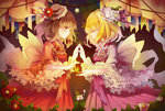 2girls alternate_costume blonde_hair bow brown_eyes brown_hair closed_eyes dress flower frills hair_bow hands_together hat hat_flower highres lolita_fashion maribel_hearn moon multiple_girls night ribbon short_hair smile touhou usami_renko vieny