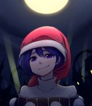 1girl :3 bangs blue_hair commentary doremy_sweet english_commentary face full_moon hair_between_eyes hat looking_at_viewer moon night nightcap outdoors pom_pom_(clothes) portrait purple_eyes short_hair smile smirk solo speckticuls touhou turtleneck