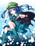 1girl adjusting_clothes adjusting_hat backpack bag black_background black_backpack blue_background blue_eyes blue_footwear blue_hair blue_shirt blue_skirt blush boots commentary_request eyebrows_visible_through_hair gradient gradient_background green_hat hair_bobbles hair_ornament hat highres holding_wrench kawashiro_nitori key looking_at_viewer pouch puffy_short_sleeves puffy_sleeves ruu_(tksymkw) shirt short_hair short_sleeves skirt smile solo touhou two_side_up white_background