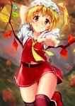 1girl absurdres arm_behind_head arm_up ascot ass_visible_through_thighs bangs bare_arms belt blonde_hair blouse blurry blurry_background cowboy_shot crystal eyebrows_visible_through_hair flandre_scarlet foot_up foreshortening frilled_sleeves frills fur-trimmed_footwear fur_trim grin hand_up head_tilt high_ponytail highres long_hair looking_at_viewer midriff_peek miniskirt nanase_nanami navel outstretched_arm reaching_out red_eyes red_footwear red_legwear red_skirt red_vest shoes short_sleeves side_ponytail skirt smile solo stomach thigh_gap thighhighs touhou vest wavy_mouth white_blouse wings yellow_neckwear zettai_ryouiki