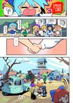 1other 6+girls american_flag_dress american_flag_legwear blonde_hair blue_bow blue_dress blue_hair bow bridge brown_hair checkered checkered_scarf chen cirno clownpiece comic daiyousei dress driving fairy_wings fox_tail futatsuiwa_mamizou futatsuiwa_mamizou_(human) green_hair hair_bow hat headdress highres holding_hands inubashiri_momiji jester_cap kawashiro_nitori long_hair luna_child moyazou_(kitaguni_moyashi_seizoujo) multiple_girls multiple_tails neck_ruff orange_hair red_hair refrigerator robot scarf sekibanki short_hair shouting side_ponytail star_sapphire striped striped_dress tail three-wheeler tokin_hat touhou translation_request tree tripping very_long_hair wheel white_hair white_hat wings yakumo_ran yellow_bow
