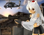 1girl aircraft alternate_hairstyle animal_ears assault_rifle barbed_wire bike_shorts crop_top detached_sleeves eotech fingerless_gloves gloves gun hat helicopter inubashiri_momiji long_hair m4_carbine midriff navel red_eyes rifle shirt solo tail taut_clothes taut_shirt tokin_hat touhou u.s.m.c uh-60_blackhawk weapon white_hair wolf_ears wolf_tail