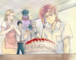 1girl 4boys beard belt birthday_cake black_hair blush brown_hair cake closed_eyes earrings facial_hair father_and_daughter food gloves green_eyes headwear_removed higeneko_(pluie) jewelry jojo_no_kimyou_na_bouken joseph_joestar kakyouin_noriaki kuujou_holly kuujou_joutarou mother_and_son multiple_boys old open_mouth red_hair school_uniform short_hair smile stand_(jojo) star_platinum tray