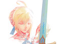 1girl ahoge blonde_hair closed_eyes excalibur fate/stay_night fate_(series) highres saber solo sword weapon xseven