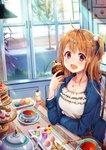 1girl :d absurdres ahoge airmisuzu bangs blue_jacket blue_ribbon blurry blush breasts brown_hair cake cat_hair_ornament chair collarbone commentary_request cup cupcake day depth_of_field dress eyebrows_visible_through_hair fang food frilled_dress frills fruit gelatin hair_ornament hair_ribbon hairclip hand_up highres holding holding_food indoors jacket jewelry long_hair long_sleeves macaron milkshake nail_polish necklace one_side_up open_clothes open_jacket open_mouth original plant plate pom_pom_(clothes) purple_eyes red_nails revision ribbon road sidelocks sidewalk sitting slice_of_pie smile solo spoon star star_hair_ornament strawberry table tareme tea teacup teapot tiered_tray tree whipped_cream white_dress window