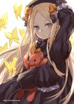 1girl abigail_williams_(fate/grand_order) animal arm_up bangs black_bow black_dress black_hat blonde_hair blue_eyes blush bow bug butterfly closed_mouth commentary_request dress eyebrows_visible_through_hair fate/grand_order fate_(series) forehead hair_bow hat head_tilt highres insect long_hair long_sleeves looking_at_viewer object_hug orange_bow parted_bangs polka_dot polka_dot_bow simple_background sketch sleeves_past_fingers sleeves_past_wrists solo stuffed_animal stuffed_toy teddy_bear ten-chan_(eternal_s) upper_body very_long_hair white_background