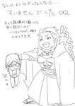 beard bob_cut cape comic facial_hair fate/zero fate_(series) hin laughing monochrome rider_(fate/zero) size_difference translation_request waver_velvet