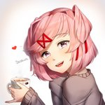1girl :d artist_name commentary cup doki_doki_literature_club english_commentary eyebrows_visible_through_hair from_side hair_ornament hair_ribbon hairclip heart highres holding holding_cup lips looking_at_viewer looking_to_the_side nail_polish natsuki_(doki_doki_literature_club) open_mouth pink_eyes pink_hair pink_nails pinky_out red_ribbon ribbon sasoura short_hair simple_background smile solo two_side_up