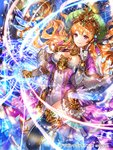 1girl armlet black_legwear blonde_hair bracelet breasts cleavage cleavage_cutout copyright_name dragon_tactics elbow_gloves floating_hair gloves green_hat hair_between_eyes hat highres index_finger_raised jewelry long_hair looking_at_viewer magic magic_circle medium_breasts official_art outstretched_arm purple_eyes rioka_(southern_blue_sky) shiny shiny_hair side_slit smile solo thighhighs very_long_hair white_gloves