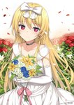 1girl alternate_costume arifureta_shokugyou_de_sekai_saikyou bangs black_choker blonde_hair blue_flower blush bouquet bow choker closed_mouth collarbone day dress elbow_gloves field flower flower_field gloves hair_between_eyes hair_bow highres holding holding_bouquet lily_(flower) long_hair looking_at_viewer official_art outdoors petals pink_ribbon red_eyes red_flower ribbon rose sidelocks smile solo standing takayaki upper_body watermark wedding_dress white_bow white_dress white_flower white_gloves yellow_flower yue_(arifureta)