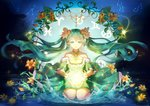 1girl absurdres aqua_hair choker collarbone detached_sleeves eyebrows_visible_through_hair floating_hair flower full_body green_eyes hair_between_eyes hatsune_miku highres kneeling long_hair natsume_ziana night outdoors parted_lips sky solo star_(sky) starry_sky twintails very_long_hair vocaloid yellow_flower zodiac