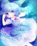 1girl bad_id bad_pixiv_id blue_dress blue_eyes blue_hair blush bow cirno dress fairy grin hair_bow ice minato0618 ribbon short_hair smile solo touhou wings